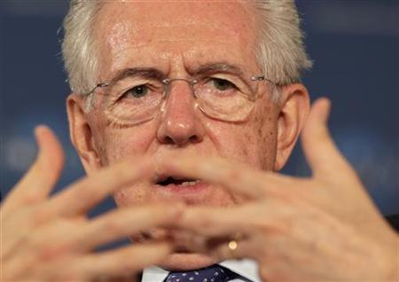 Italy's Prime Minister Mario Monti gestures at the World Policy Conference in Cannes December 8, 2012. REUTERS/Eric Gaillard