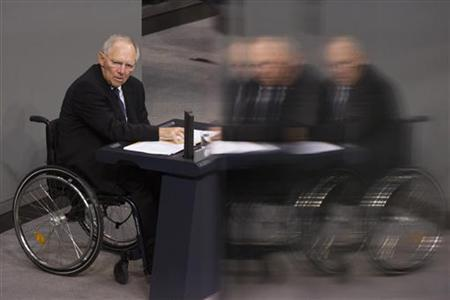 German Finance Minister Wolfgang Schaeuble delivers a government policy statement at Germany's lower house of parliament, the Bundestag, before the house votes on financial help for Greece, in Berlin November 30, 2012. REUTERS/Thomas Peter