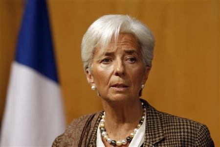 International Monetary Fund (IMF) Managing Director Christine Lagarde speaks during the conference ''Growth and integration in solidarity: what strategy for Europe?'' with top financial officials at the Economy ministry in Paris November 30, 2012. REUTERS/Charles Platiau