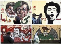Combinação de fotos de murais desenhados na parede do palácio presidencial em Cairo, Egito. O presidente do país, Mohamed Mursi, cancelou o decreto que dava a ele amplos poderes e que desencadeou violenta reação, mas não suspendeu o referendo marcado para este mês sobre uma nova constituição. 8/12/2012 REUTERS/Amr Abdallah Dalsh