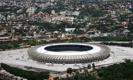 A general view of the Mineirao Stadium as construction continues in preparation for the 2013 Confederations Cup soccer tournament, in Belo Horizonte December 7, 2012. The stadium will also host games in the 2014 World Cup. REUTERS/Washington Alves