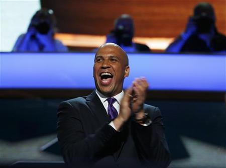 Mayor of Newark, New Jersey, Cory A. Booker reacts during the first day of the Democratic National Convention in Charlotte, North Carolina September 4, 2012. REUTERS/Jim Young