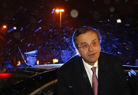 Greek Prime Minister Antonis Samaras arrives for a meeting with Horst Seehofer, Prime Minister and leader of the Christian Social Union (CSU) in Munich December 9, 2012. REUTERS/Michaela Rehle