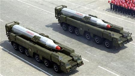 Rockets are carried by military vehicles during a military parade to celebrate the centenary of the birth of North Korea's founder Kim Il-sung in Pyongyang on April 15, 2012, in this picture released by the North's KCNA news agency on April 16, 2012. REUTERS/KCNA/Files