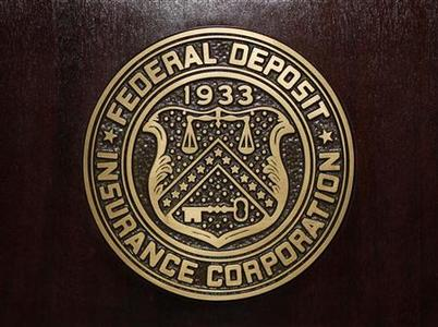 The Federal Deposit Insurance Corp (FDIC) logo is seen at the FDIC headquarters in Washington, February 23, 2011. REUTERS/Jason Reed
