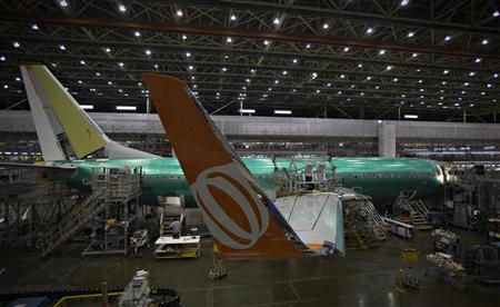 A Boeing 737-900 sits on the assembly line at the company's operations in Renton, Washington, October 18, 2012. REUTERS/Andy Clark