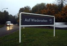 A traffic sign reading 'good-bye' is pictured at the Opel plant of Bochum October 24, 2012. REUTERS/Ina Fassbender (GERMANY - Tags: TRANSPORT BUSINESS EMPLOYMENT)