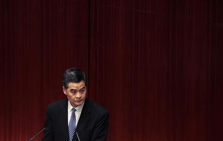 Hong Kong Chief Executive Leung Chun-ying listens to a question from a lawmaker at the Legislative Council in Hong Kong December 10, 2012. REUTERS/Bobby Yip
