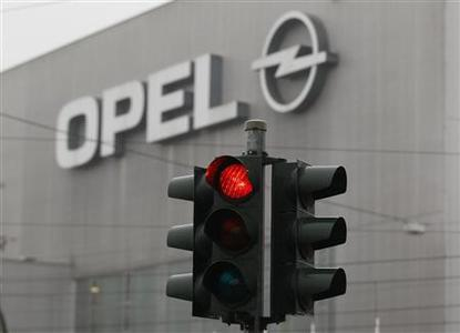 File picture shows a traffic light in front of the Opel plant in Bochum February 16 , 2012. REUTERS/Ina Fassbender/File