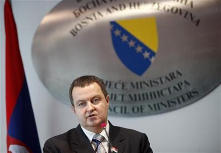 Ivica Dacic, Serbian Prime Minster speaks with his Bosnian counterpart Vjekoslav Bevanda during a news conference after a meeting in Sarajevo, September 12, 2012. REUTERS/Dado Ruvic