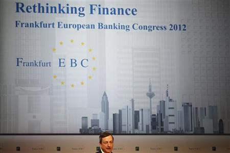 Mario Draghi, President of the European Central Bank (ECB) delivers his speech at the European Banking Congress at the old opera house in Frankfurt, November 23, 2012. REUTERS/Kai Pfaffenbach