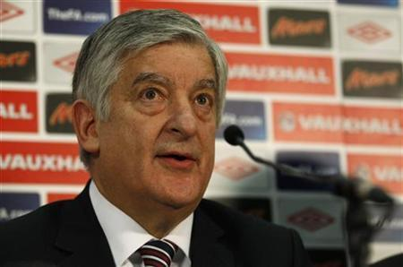 FA Chairman David Bernstein attends a news conference at Wembley Stadium in London February 9, 2012. REUTERS/Suzanne Plunkett/Files