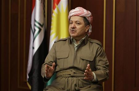 Kurdish Regional Government President Masoud Barzani speaks during an interview with Reuters in Arbil, about 350 km (220 miles) north of Baghdad November 30, 2011. REUTERS/Azad Lashkari