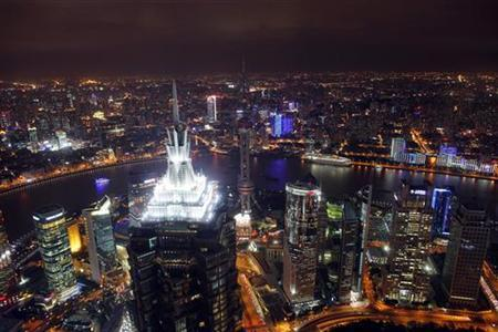 A view of the city skyline from the Shanghai Financial Center building, October 25, 2011. REUTERS/Carlos Barria/Files