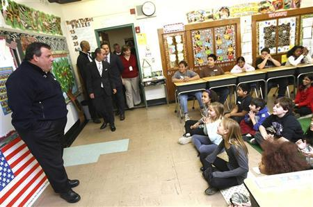 New Jersey Governor Chris Christie visits fifth grade students at Berkeley Elementary School in Westwood, New Jersey, November 6, 2012 in this handout photo courtesy of the governor's office. REUTERS/New Jersey Governor's Office/Tim Larsen/Handout