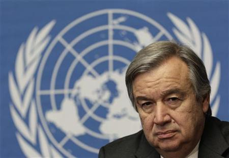 UNHCR Director general Antonio Guterres listens to a reporter's question during a news conference on the crisis in the Sahel region at the United Nations in Geneva April 10, 2012. REUTERS/Denis Balibouse/Files