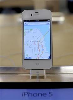 An iPhone5 is displayed at an Apple Store in San Francisco, California, September 21, 2012. REUTERS/Noah Berger/Files