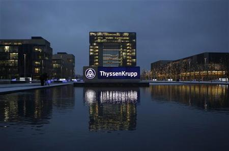The headquarters of Germany's industrial conglomerate ThyssenKrupp AG is pictured before its annual news conference in Essen December 11, 2012. REUTERS/Ina Fassbender (GERMANY - Tags: BUSINESS INDUSTRIAL COMMODITIES LOGO)