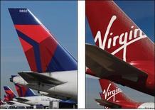 <p>Delta Air Lines a annoncé mardi le rachat de 49% du capital de la compagnie Virgin Atlantic pour 360 millions de dollars (277 millions d'euros). Ces parts appartenaient jusqu'à présent à Singapore Airlines. /Photo d'archives/Tami Chappell et Stefan Wermuth</p>