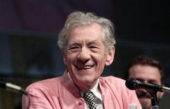 "Cast member Ian McKellen smiles during a panel for the film ""The Hobbit: An Unexpected Journey"" during the Comic Con International convention in San Diego, California July 14, 2012. REUTERS/Mario Anzuoni"