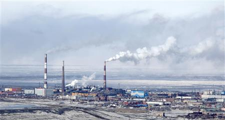 A general view of Norilsk Nickel's copper plant in Russia's Arctic city of Norilsk, in this April 16, 2010 file photo. REUTERS/Ilya Naymushin