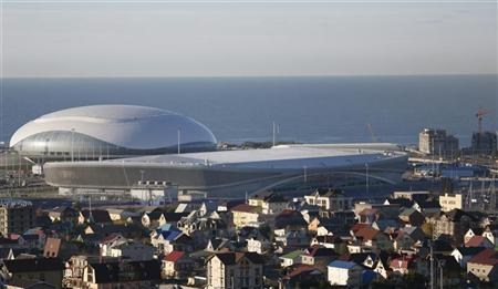 A general view of the Bolshoy Ice Dome (L) and Adler Arena Skating Centre in the Olympic Park to be used for the Sochi 2014 Winter Olympics, in Sochi December 9, 2012.REUTERS/Pawel Kopczynski