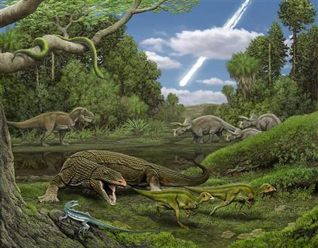 The carnivorous lizard Palaeosaniwa stalks a pair of hatchling Edmontosaurus as the snake Cerberophis and the lizard Obamadon (foregorund, blue) look on, while in the background, an encounter between T. rex and Triceratops is pictured in this undated handout image. The small insect-eating lizard discovered in Montana has been named Obamadon gracilis. REUTERS/Carl Buell/Handout