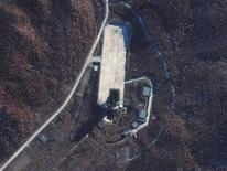 The Sohae Launch Facility in North Korea in seen in this November 23, 2012 satellite image courtesy of DigitalGlobe. North Korea launched a rocket on Wednesday and the missile appears to have passed over Okinawa, Japan's government said. REUTERS/DigitalGlobe/Handout