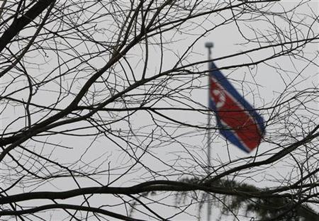 A North Korean national flag is seen on the top of its embassy in Beijing December 12, 2012. REUTERS/Jason Lee
