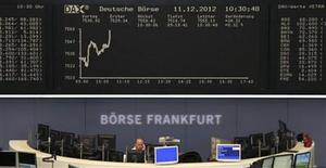 Traders are pictured at their desk under the DAX board at the Frankfurt stock exchange December 11, 2012. REUTERS/Remote/Wolfgang Ratty (GERMANY - Tags: BUSINESS)