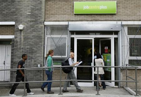 People enter a job centre in London in this file photo from 2009. REUTERS/Stephen Hird