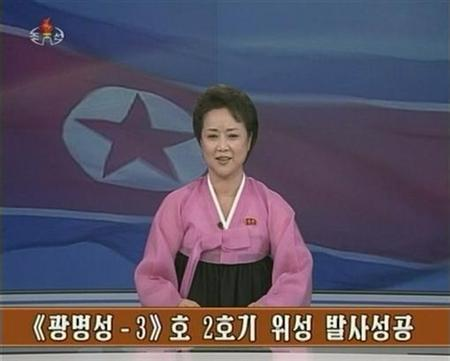 A North Korean KRT TV presenter announces the successful launch of a long-range rocket by North Korea in this December 12, 2012, still image taken from TV. REUTERS/KRT via REUTERS TV (NORTH KOREA - Tags: POLITICS) FOR EDITORIAL USE ONLY. NOT FOR SALE FOR MARKETING OR ADVERTISING CAMPAIGNS. THIS IMAGE HAS BEEN SUPPLIED BY A THIRD PARTY. IT IS DISTRIBUTED, EXACTLY AS RECEIVED BY REUTERS, AS A SERVICE TO CLIENTS