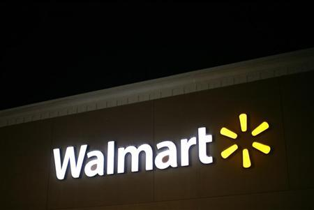 A view shows the Walmart logo at an opened Walmart store on Thanksgiving day in North Bergan, New Jersey November 22, 2012. REUTERS/Eric Thayer