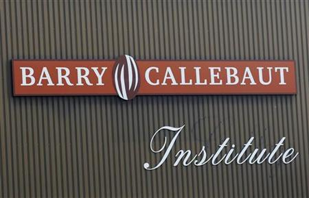 The logo of Barry Callebaut chocolate is seen at the entrance of the factory in Lebbeke September 29, 2011. REUTERS/Yves Herman