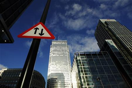 A general view shows the Canary Wharf business district in London February 3, 2012. REUTERS/Luke MacGregor
