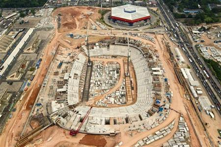 An aerial view shows the construction site of the Arena da Amazonia, or Vivaldo Lima Stadium, as it is rebuilt to host the 2014 World Cup, in Manaus October 18, 2012. REUTERS/Bruno Kelly