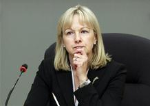 Julie Dickson, head of the Office of the Superintendent of Financial Institutions (OSFI), waits to testify before the Senate banking committee in Ottawa November 23, 2011. REUTERS/Chris Wattie