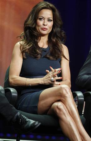 Brooke Burke-Charvet, host of the upcoming reality series ''Dancing with the Stars: All Stars'' speaks during a panel discussion at the Disney-ABC Television Group portion of the Television Critics Association Summer press tour in Beverly Hills, California July 27, 2012. REUTERS/Fred Prouser