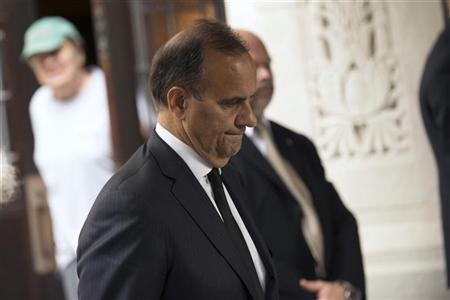 Former New York Yankees baseball coach Joe Torre leaves the funeral service for award-winning composer Marvin Hamlisch in New York, August 14, 2012. REUTERS/Keith Bedford