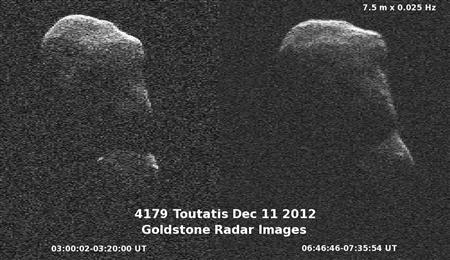 The asteroid Toutatis is captured by NASA's Goldstone radar as it passes by Earth on December 11, 2012. REUTERS/NASA/JPL/Caltech/Handout