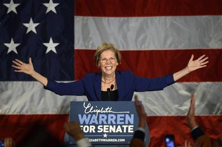 Senator-elect for Massachusetts Elizabeth Warren addresses supporters during her victory rally in Boston, Massachusetts, November 6, 2012. REUTERS/Gretchen Ertl