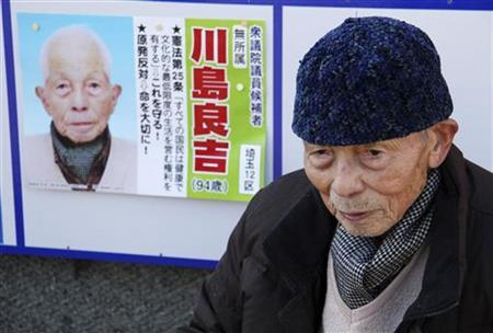 Ryokichi Kawashima, a 94-year-old parliamentary election candidate, speaks in front of his election campaign poster on a street during an interview with Reuters in Hanyu, north of Tokyo December 12, 2012. REUTERS/Ruairidh Villar