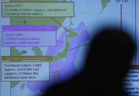 A projected map of Japan's territorial waters are seen through a reporter's silhouette during a news conference by Japan Coast Guard Commandant Takashi Kitamura (not pictured), at the Foreign Correspondents' Club of Japan in Tokyo December 13, 2012. REUTERS/Issei Kato