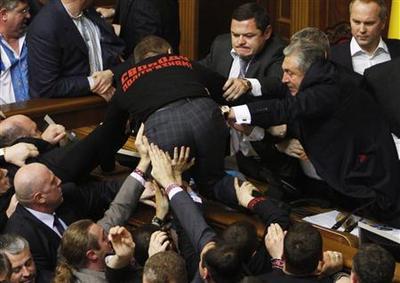Deputies brawl in Ukraine parliament, session suspende...