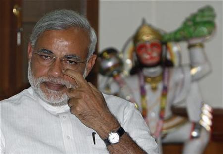 India's main opposition Bharatiya Janata Party (BJP) leader Narendra Modi attends a party meeting in New Delhi May 18, 2009. REUTERS/Adnan Abidi/Files