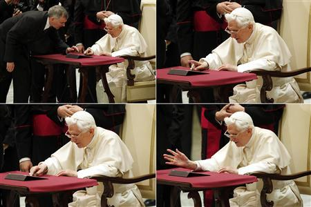 A combination picture shows Pope Benedict XVI posting his first tweet using an iPad tablet after his Wednesday general audience in Paul VI's Hall at the Vatican December 12, 2012. REUTERS/Giampiero Sposito