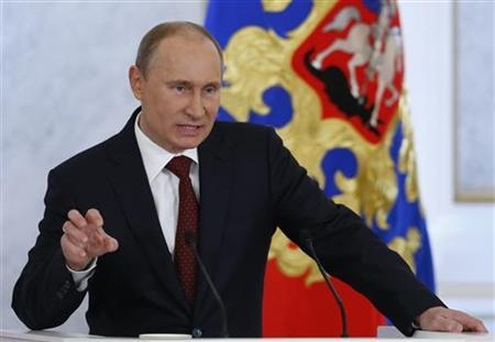 Russia's President Vladimir Putin speaks during his annual state of the nation address at the Kremlin in Moscow December 12, 2012. REUTERS/Grigory Dukor