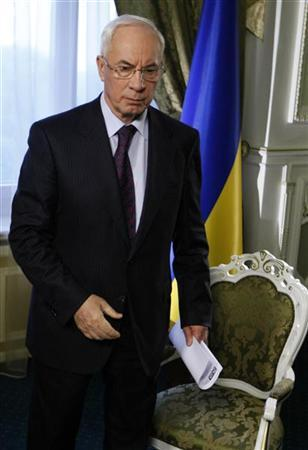 Then Ukraine's Prime Minister Mykola Azarov speaks during an interview with Reuters in Kiev October 23, 2012. REUTERS/Anatolii Stepanov