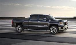 The 2014 GMC Sierra SLT Crew Cab pickup truck is seen in this undated handout image. General Motors Co is gearing up to show off its new full-size pickup trucks this week just as the No. 1 U.S. automaker is boosting incentives on its rising supply of the current models. GM will unveil the redesigned versions of the Chevrolet Silverado and GMC Sierra in Pontiac on December 13, 2012, but consumers will not be able to start buying the new 2014 models until the second quarter next year. REUTERS/GMC/Handout