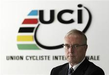 International Cycling Union (UCI) president Pat McQuaid poses before an interview with Reuters in Aigle December 13, 2012. REUTERS/Denis Balibouse